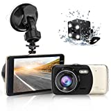 """Dash Camera for car,Dash cam,Tvird Full HD 720P with IPS Screen 4"""",Front and Rear Dual Channel Dashboard,160 Degree Wide Angle with Supreme Night Vision,G-Sensor,Motion Detection,WDR,Loop Recording"""