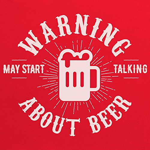 May Start Talking About Beer Camiseta Funny Novelty Gift, Para mujer Rojo