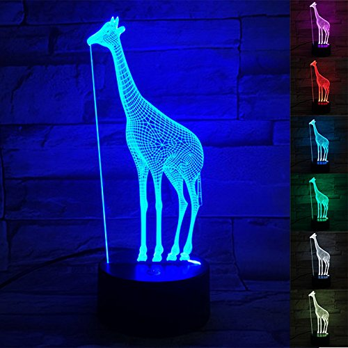 Giraffe Lamp Infant (3D Giraffe Lamp, Optical Illusion Night Light for Room Decor & Baby Nursery, Cool Birthday Gifts for Girls & Women, 7 Color Changing Toys with Battery Backup by WANTASTE)