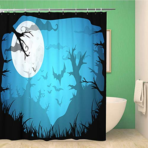 Awowee Bathroom Shower Curtain Halloween Blue Spooky A4 Border Moon Death Trees 72x72 inches Waterproof Bath Curtain Set with Hooks