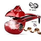 Automatic Hair Steam Curler Ceramic Curling Iron Bar Salon Professional Car Rotating Styling Steamer Spray Curl Spiral Machine Tool with LED Digital Display (X-Large, Red)