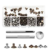 Bestgle 120 Sets Leather Rivets Double Cap Rivet Tubular Metal Studs with 3 Fixing Tool for Leather Craft Repairing Decoration, 2 Colors, 2 Sizes