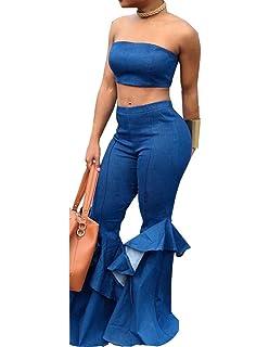 a648500b572d OLUOLIN Womens Denim Sleeveless 2 Piece Sets Jumpsuit Bandeau Bra and  Flared Bottom Pants Trousers