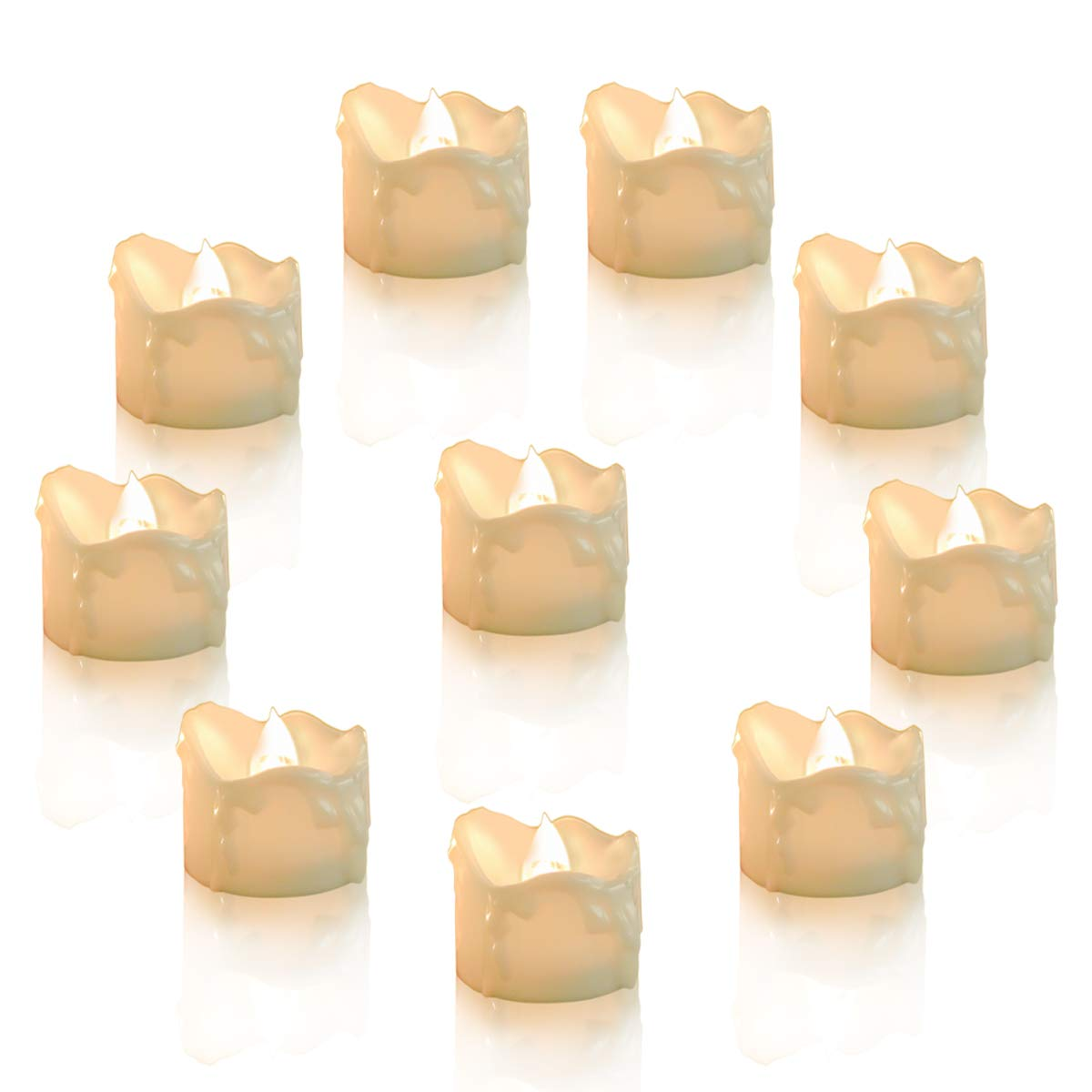 Youngerbaby 24pcs Warm White Flickering Timing Function LED Tea Light Candles with Decor Rose Petals Flameless Battery Operated Tealights with Timer 6 Hrs on 18 Hrs Off for Wedding Christmas Party