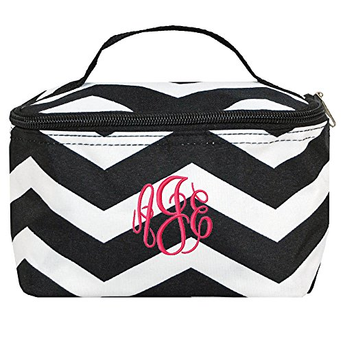 Personalized Small Cosmetic Makup Bags for the Girl on the Go (Black Chevron)