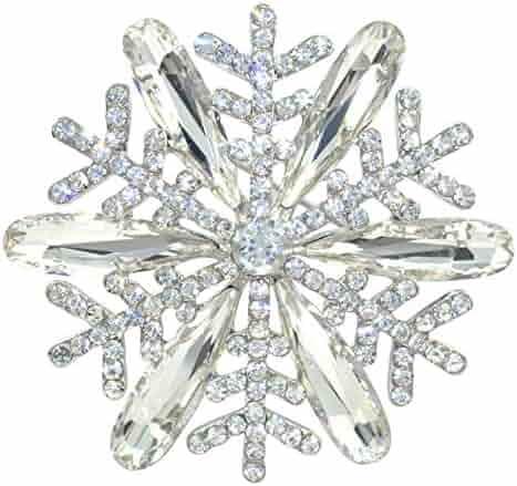 2530885ea12 Gyn&Joy Stunning Clear Crystal Rhinestone Christmas Snowflake Pin Brooch