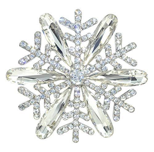 (Gyn&Joy Austrian Crystal Bridal Elegant Winter Snowflake Flower Brooch Pin Clear Silvery Tone BZ187W)