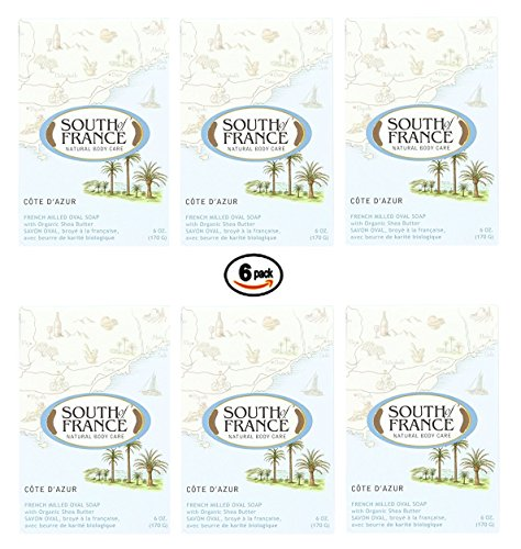 South of France 6 Ounce Oval Soap Bar Cote D' Azur 6 Pack (Soap South Coconut Bar France Of)