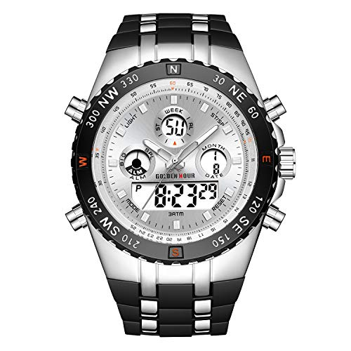 GOLDEN HOUR Huge Heavy Military Sports Watches for Men, 3ATM Waterproof, Stopwatch, Date and Date, Alarm, Luminous Digital Analog Wrist Watch with Rubber Band in Silver White