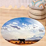 VROSELV Custom carpetWestern Decor Horse in Monument Valley Open Sky with Clouds in Arizona America Landscape for Bedroom Living Room Dorm Cream Blue Round 79 inches