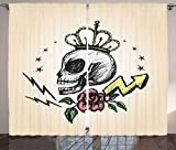 Skull Decor Curtains by Ambesonne, Mexican Folk Art Inspired Skeleton with Crown and Rose Halloween Artsy Design, Living Room Bedroom Window Drapes 2 Panel Set, 108W X 90L Inches, Yellow Peach