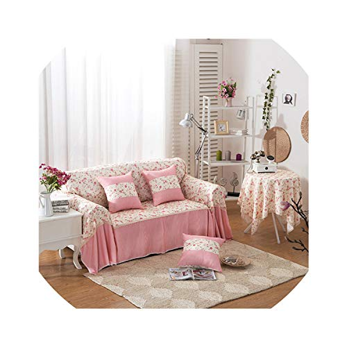 Sofa Slipcovers Light Pink Flowers Sofa Cover Single Double Three Four Seat Sofa Cover Shaped Slipcovers for Home Decor Anti-Static,Color4,2150Cm 3Seat