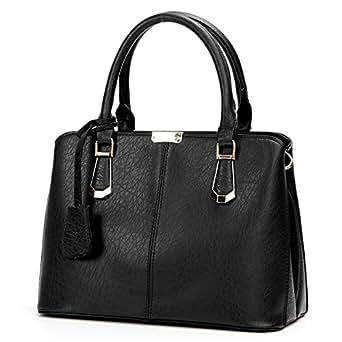 OURBAG Women Leather Handbags Fashion Top Handle Bag Cross body Shoulder Bag for Ladies Black Medium