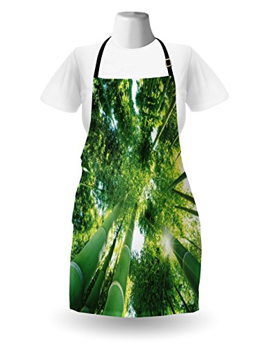 Lunarable Bamboo Apron, Low Angle View of Bamboo Tree Tops Asian Zen Tranquil Lands Jungle Meditation Spa Theme, Unisex Kitchen Bib Apron with Adjustable Neck for Cooking Baking Gardening, Green by Lunarable (Image #1)