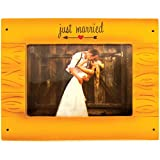 Personalized Rustic Wedding Picture Frame Christmas Ornament for Tree 2018 - Brown Wood Just Married Couple Photo Display - Groom Bride Romantic 1st Love Newlywed Milestone Memory - Free Customization