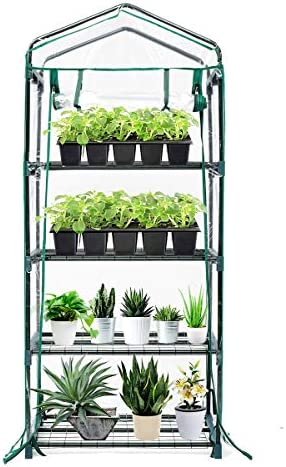 TOOCA Mini Greenhouse 4-Tier 27 X 19 X 63 Portable Plant Greenhouse for Indoor Outdoor Gardens Patios Backyards