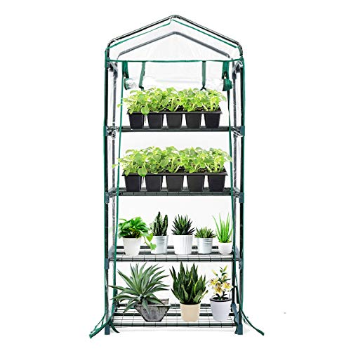 TOOCA Mini Greenhouse 4-Tier 27″ X 19″ X 63″ Portable Plant Greenhouse for Indoor/Outdoor Gardens, Patios, Backyards Plant Shelves, Ideal for Growing Seeds, Young Plants, with Roll Up Zipper Door