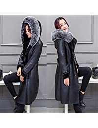 Joddie Haha Leather Jacket Thick Hooded Coat Fashion Medium Long High end PU Leather Coat Plus