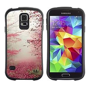 LASTONE PHONE CASE / Suave Silicona Caso Carcasa de Caucho Funda para Samsung Galaxy S5 SM-G900 / Autumn Leaves Red Fall Nature Trees Forest