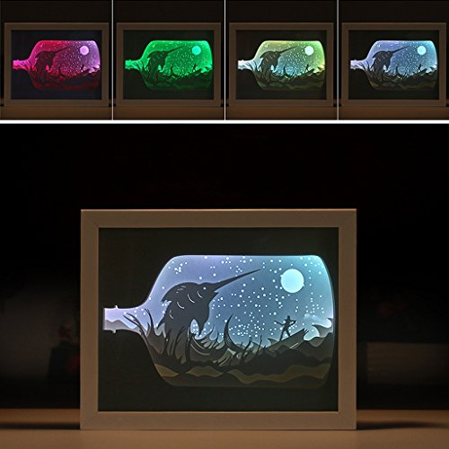 ght Boxes, Drift Bottle 3D Shadow Creative Paintings LED Night Lamp USB Power Color Changed Gift for Kids and Adults, Baby Nursery Kids Bedroom Living Room (Room Shadow Box)