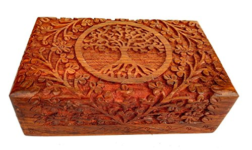 Rastogi Handicrafts Fine Wooden Carving Box Tree of Life for Jewelry Handmade Indian -