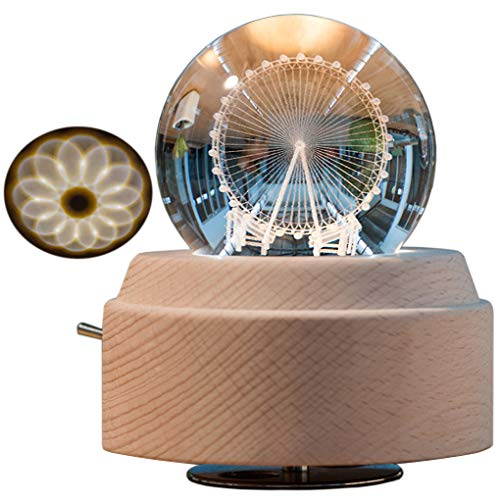 3D Crystal Ball Music Box Ferris Wheel Luminous Rotating Musical Box with Projection LED Light and Wood Base Best Gift for Birthday Christmas (A5 Ferris (Christmas Ferris Wheel)