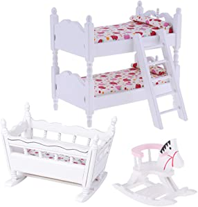 Fityle White 1/12 Scale Dollhouse Furniture Children Nursery Bedroom Bunk Bed Cradle Rocking Horse Set