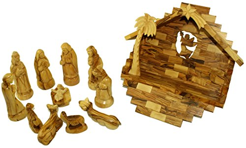 Olive Wood Nativity Set With Stable. Exquisite (14 Pieces Set) by Holy Land Market