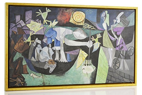Berkin Arts FRAMED Pablo Picasso Giclee Canvas Print Paintings Poster Reproduction Fine Art Home Decor (Night Fishing at Antibes)