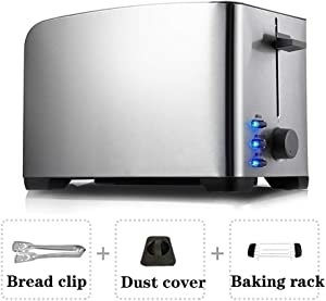 Stainless Steel Toaster, Small Household Toaster, Fully Automatic Breakfast Maker, 2 Slice Toaster, Five-Level Temperature Control