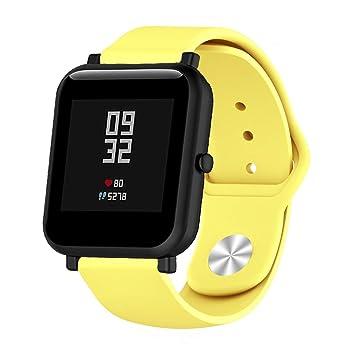 Saisiyiky 20mm Correa Compatible con AMAZFIT Bip Xiaomi Huami Banda/Pulsera/Ajustable para Smartwatch Reemplazo de Correa Banda de Silicona (Amarillo)
