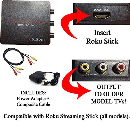 HDMI to 3RCA Composite AV Converter for Roku Streaming Stick