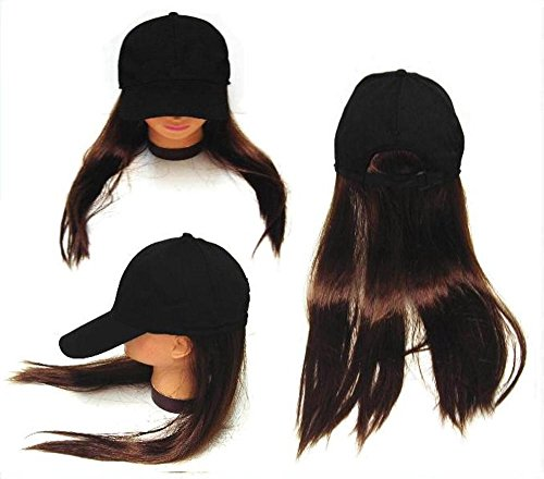 Joke Novelty Baseball Hat with Long Brown Fake Hair in the Back of Cap