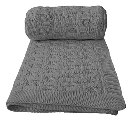 Aztocratic Marvelos Light Grey Soft 100% Cotton knitted throws for couch and bed, classy design and elegant throws for indoor and outdoor use; knit crochet sweater texture, warm holiday gift for you (Welcome Cross Friend)