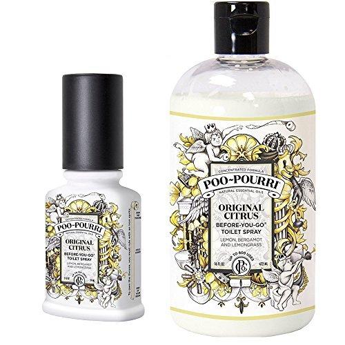 Poo-Pourri Before-You-Go Toilet Spray 2-Ounce Bottle, Original Scent + Poo-Pourri Before-You-Go Toilet Spray 16-Ounce Refill Bottle, Original by Poo-Pourri (Image #1)