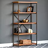 Best Choice Products 4-Tier Rustic Industrial Bookshelf for Living Room, Bedroom w/Metal Frame, Wood Shelves – Brown For Sale