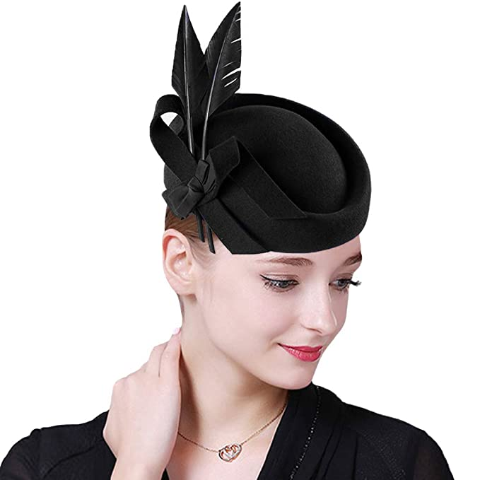 1930s Style Hats | Buy 30s Ladies Hats Vintage Womens Dress Fascinator Wool Pillbox Hat Formal Church Wedding Tilt Hat $34.09 AT vintagedancer.com