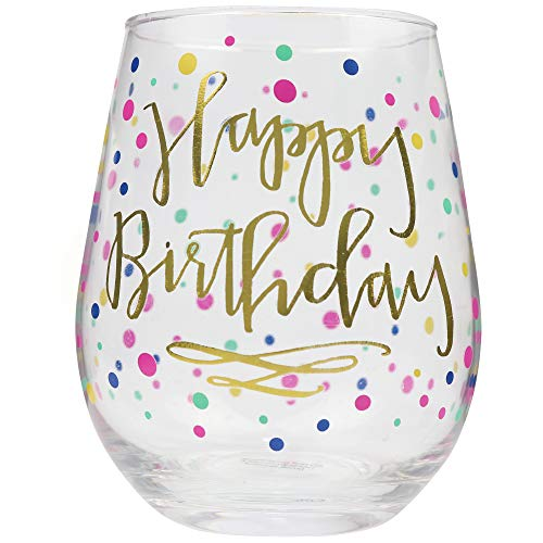 Happy Birthday 22oz Stemless Wine Glass, Multi Color Birthday Wine Glass with Gold Print, Perfect Birthday Present Wine Glass, Happy Birthday Wine Glass, Birthday Glass, Happy Birthday Gifts, ()