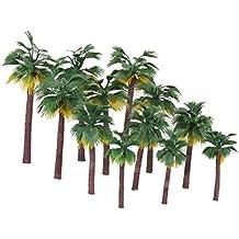WINOMO 12 PCS Model Trees Mini Layout Rainforest Plastic Train Palm Tree Diorama Scenery 16 10 5cm