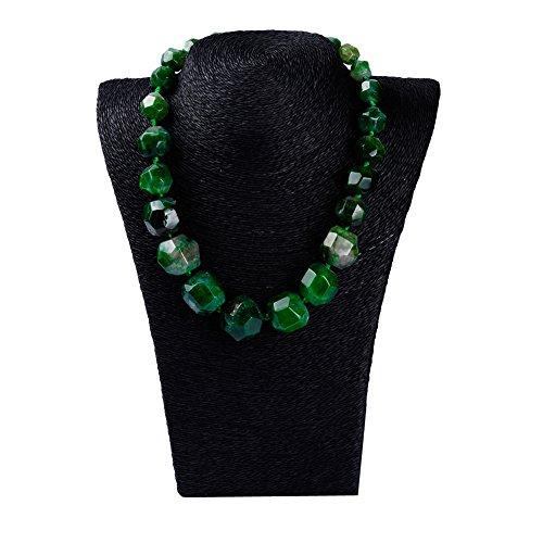 Agate Precious Semi - Rui Long Women Natural Agate Jewelry Stone Beads Semi-Precious Stone Tower Chain Necklace (Green)