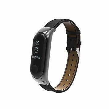 T-BLUER pour Xiaomi Mi Band 3 Bandes, Remplacement Poignet en Cuir Poignet Bracelet avec Cadre en Métal pour Xiaomi Mi Bande 3 Smart Bracelet ...