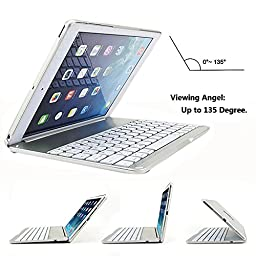 iPad Air 2 Keyboard Case,DINGRICH 7 Colors LED Backlight Ultra-Slim Aluminum Alloy Buttom Bluetooth Keyboard [Built-in Stand] Case Cover For iPad air 2(6th Generation - 2014 Release Only)(Silver)