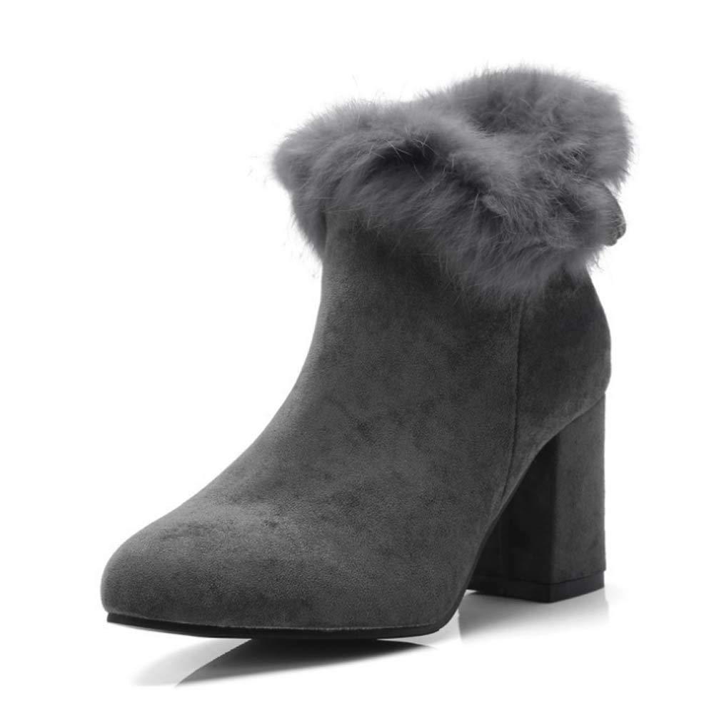 Frauen Stiefel Damen Sexy High Heels Plattform Ankle Stiefel Schuhe Fashion High-Heeled Schuhe Casual Thin Heel Party Schuhe Plattform Suede Stiefel grau 38EU
