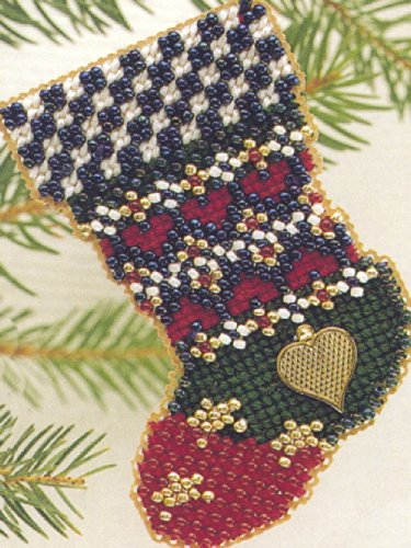 Patchwork Stars Stocking Beaded Counted Cross Stitch Ornament Kit Mill Hill 1997 Charmed Stockings MHCS1