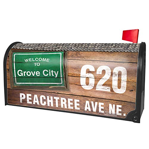 NEONBLOND Custom Mailbox Cover Green Road Sign Welcome to Grove City]()