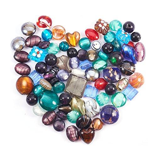 A4154 10 x Lampwork Flat Round Glass Beads 12mm