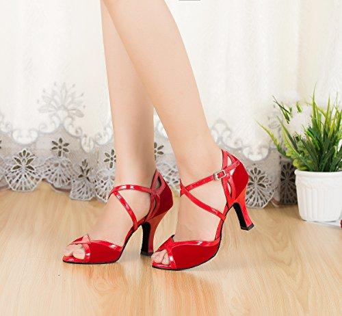 Miyoopark Dames Cross Strap Suede Latin Salsa Ballroom Dansschoenen Fashion Bruiloft Sandalen Rood-8cm Hak