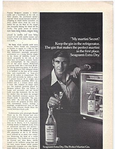 (1971 Vintage Print Ad for Seagram's Extra Dry Gin   Martini Secret Bar Décor)