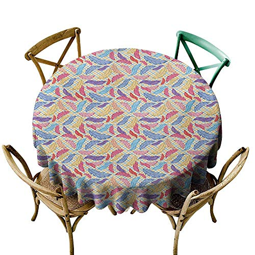 Wendell Joshua 100% Polyester Round Tablecloth 54 inch Feather,Colorful Plumage on Tartan Inspired Checkered Background Faded Contrast Artful,Multicolor Indoor/Outdoor Spillproof Table Cloth