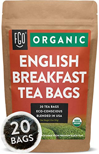 Organic English Breakfast Black Tea Bags | 20 Tea Bags | Chinese Keemun & Indian Assam Blend | Eco-Conscious Tea Bags in Foil Lined Kraft Pouch | by FGO ()